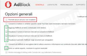 AdBlock come impostare le opzioni generali
