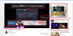 YouTube con AdBlock e Tampermonkey disattiivati
